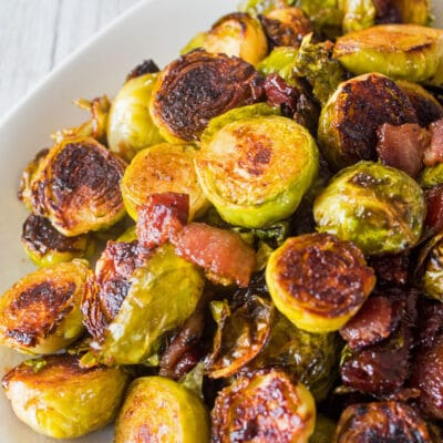 Roasted Brussels Sprouts with Bacon and Dijon Mustard Sauce