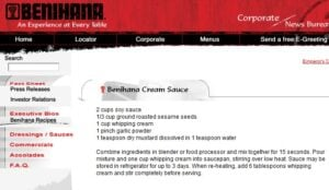 website screen shot from Benihana in the early 2000s showing the mustard cream sauce authentic recipe