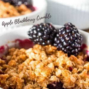 The perfect combination of sweet apples and plump blackberries for a delicious baked dessert with a touch of tartness and a buttery crumble topping!