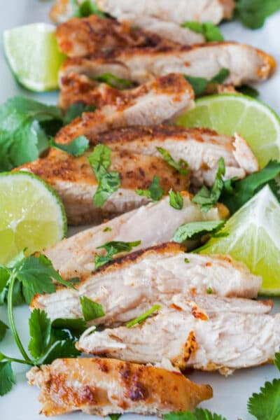 These perfectly seasoned cilantro lime chicken thighs are just right for a Mexican-themed meal!
