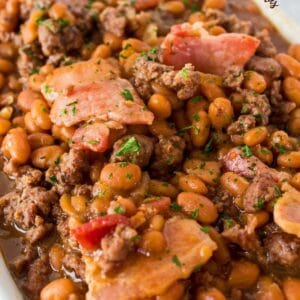 Super easy barbecue baked beans loaded with hearty, beefy flavors and smoky richness with just a touch of delicious sweetness!!