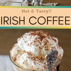 Delicious, smooth Irish Coffee is a hot coffee cocktail that is meant to be sipped through the frothy cream topping.