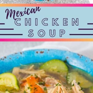 Tasty caldo de pollo mexicano is a spicy chicken soup made with chicken, vegetables, peppers and cilantro!