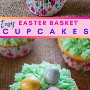 Les délicieux cupcakes du panier de Pâques sont recouverts d'un glaçage à la crème au beurre verte et garnis de mini œufs en chocolat au lait Cadbury Shimmer!