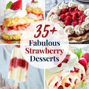 Mais de 35 sobremesas de morango fabulosas que incluem favoritos assados, sem sobremesas assadas e guloseimas de morango congeladas!