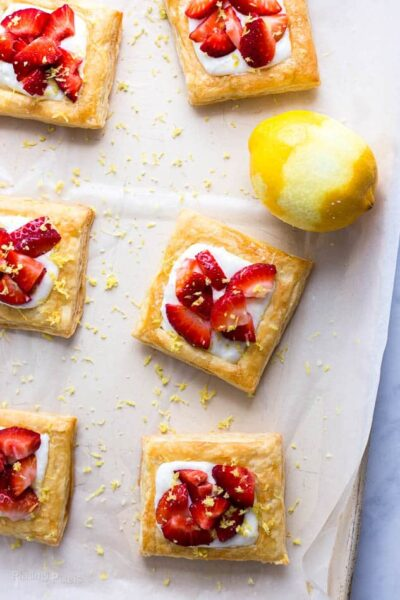 strawberry lemon cream breakfast tarts recipe from Plating Pixels