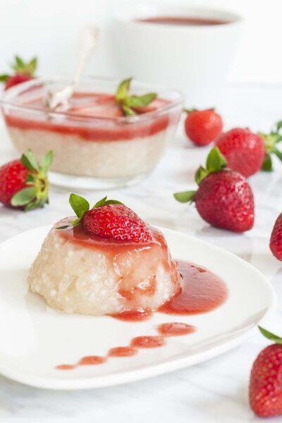 pudding au tapioca végétalien avec purée de fraises paleo friendly de My Pure Plants