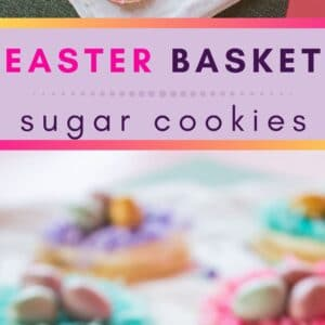 Deliciously fun Easter Basket Cookies are topped with pastel colored shredded coconut and Cadbury's shimmer mini milk chocolate eggs!