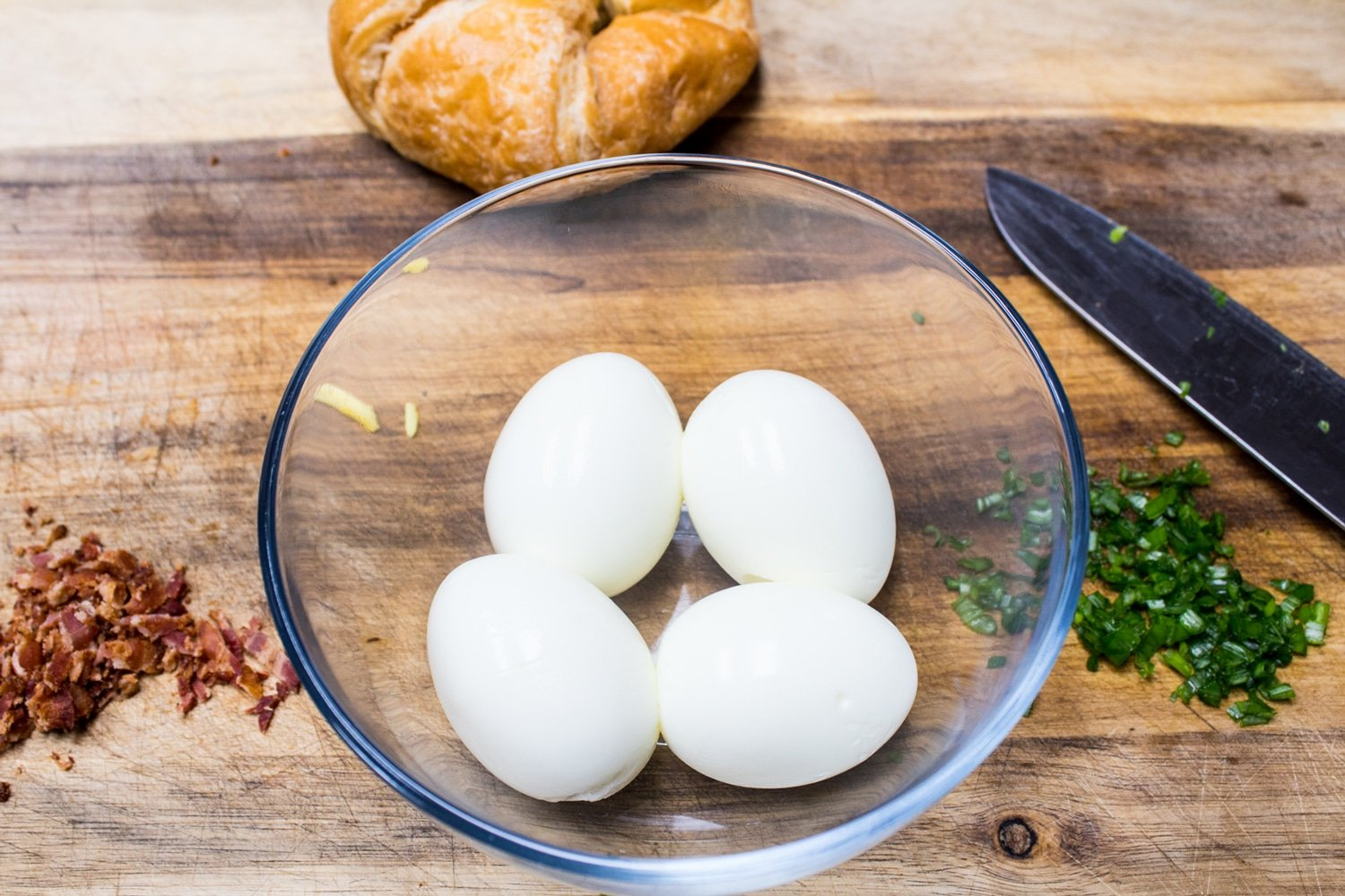 Hard boiled eggs peeled and ready to mix up with egg salad ingredients