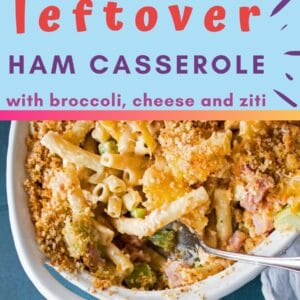 This easy leftover ham casserole with broccoli and cheese is made with 3 cheeses, ziti, and topped with breadcrumbs for an amazing meal from your ham!