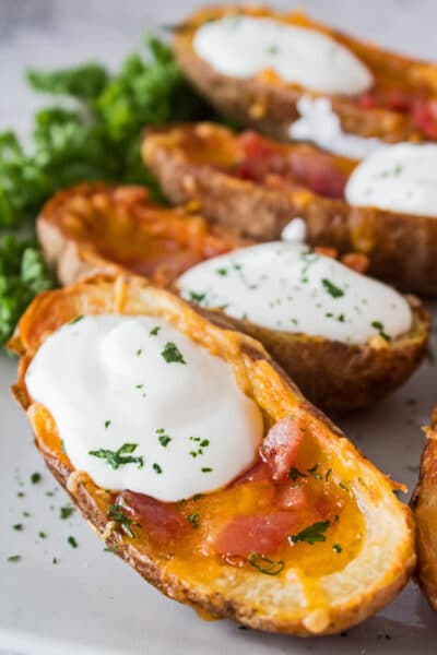 These fantastic, super crispy Air Fryer Potato Skins are a wonderful snack or appetizer!
