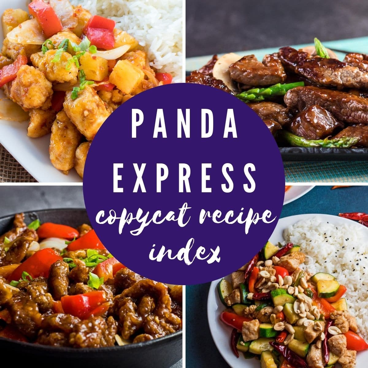 collage of four panda express recipe images with a transparent brick red overlay for text title 'Panda Express copycat recipe index'