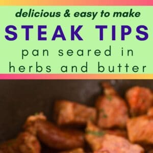 pin image showing two photos of steak bites pan seared with rosemary and garnished with parsley
