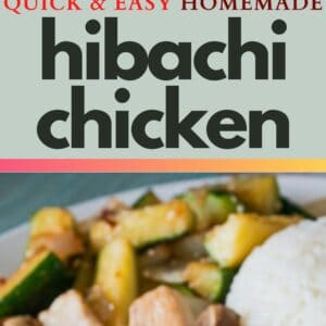 pin image with a square top photo of hibachi chicken served with hibachi zucchini and rice on a white plate with light ombre aqua background bottom photo is vertical showing closeup view of hibachi chicken with mushrooms on a white plate with hibachi zucchini and rice in the background
