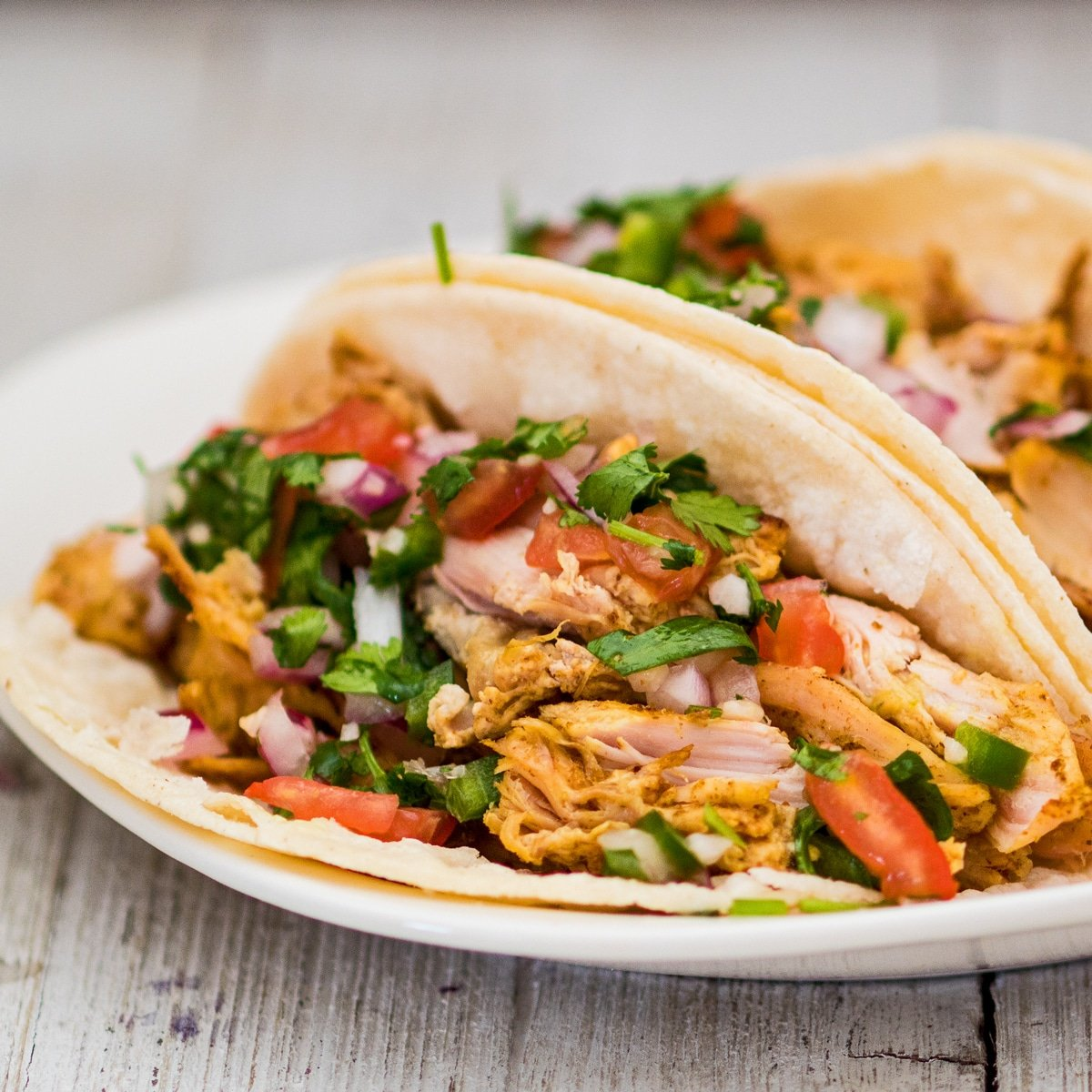 square image showing a close up view of the turkey carnitas garnished and served with fresh homemade pico de gallo served on white corn tortillas on a white plate with light wood grain background