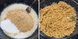 migas de galletas Graham con ingredientes de la corteza listos para combinar con un tenedor, y después de combinarlos en un buen crumble listo para verter en su sartén