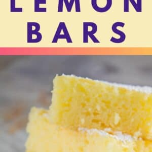 pin image with a top image showing the boxed Angel food cake mix used with the jar of lemon creme pie filling and bottom showing tall vertical image showing 2 ingredient lemon bars stacked four high on a light floral plate with gold trim