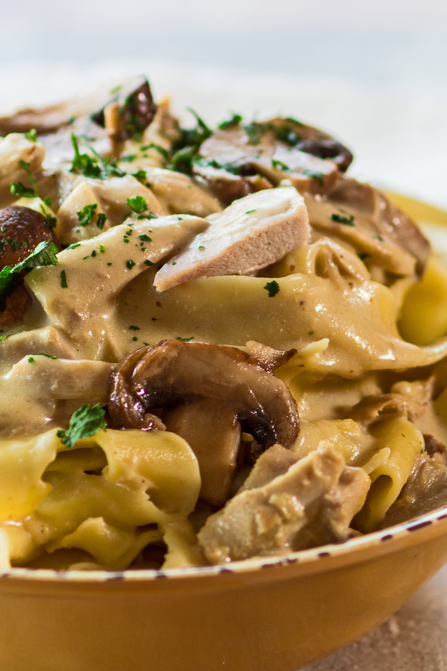 vertical image of the leftover turkey stroganoff with mushrooms served up in a light golden bowl