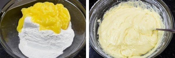 combining 2 ingredient lemon bar components, angel food cake mix and lemon creme pie filling to make easy lemon bar batter in a large mixing bowl