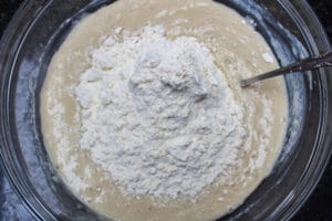 3 add the flour and mix well.