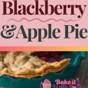 pin with 2 images of the sliced and served blackberry and apple pie.