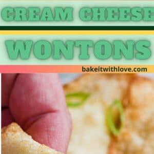 alfiler con 2 imágenes, una imagen aérea cuadrada en ángulo de los wontons de queso crema plateados en la parte superior y una imagen alta con los wontons rotos y listos para sumergir.