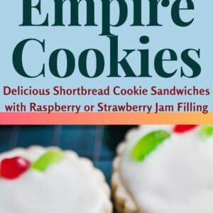 pin image with two photos of the empire biscuits baked and decorated