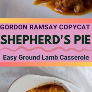 sematkan gambar dengan dua gambar Gordon Ramsay Shepherds Pie, satu di dalam pinggan dan satu dihidangkan di atas pinggan putih