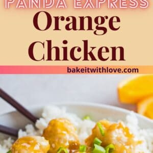 pin with top image a square overhead angle of the panda express orange chicken served on white plate and a closeup angled overhead photo below.