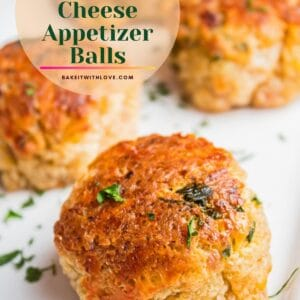 pin with tall angled overhead image of sausage cream cheese balls.