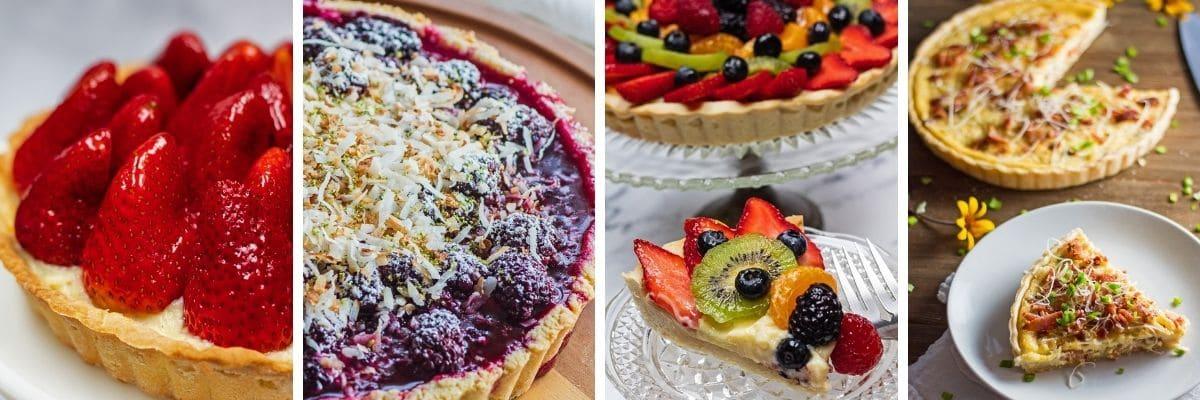 Bild med 4 rutor collage som visar olika tårtor och quiche gjord med shortcrust bakverk.