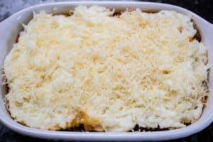 assembled shepherds pie before baking