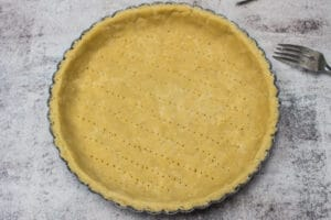 filled and trimmed sweet shortcrust pastry.