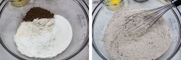 Add dry ingredients in a large bowl and whisk to combine.