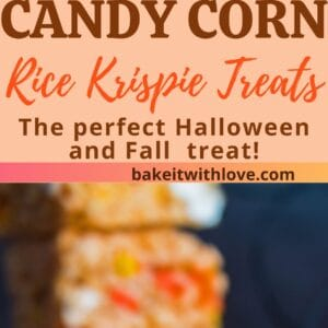 pin with two images of the candy corn rice krispie treats.