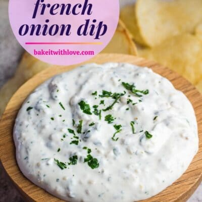 pin with french onion dip in wooden bowl and text overlay.