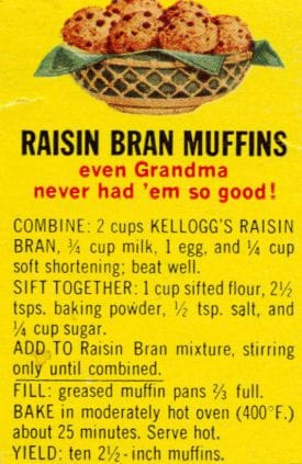 vintage Kelloggs cereal raisin bran muffin recipe.