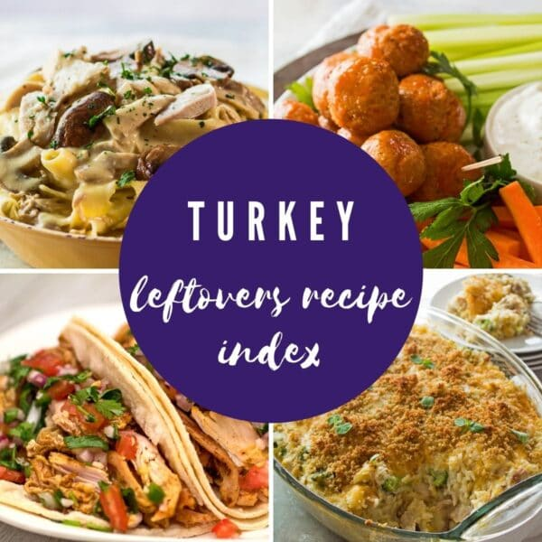 Leftover turkey recipes collage photo with text overlay.