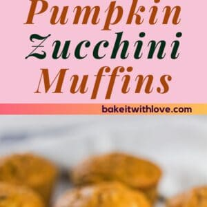 pin with two images of the pumpkin zucchini muffins on light background.
