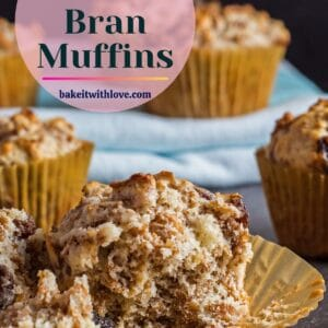 pin with tall closeup image of the opened raisin bran muffin.