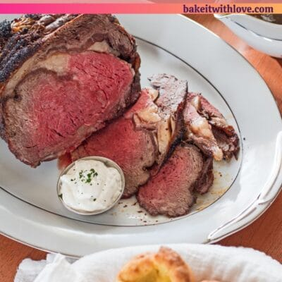 pin image prime rib dinner with text overlay.