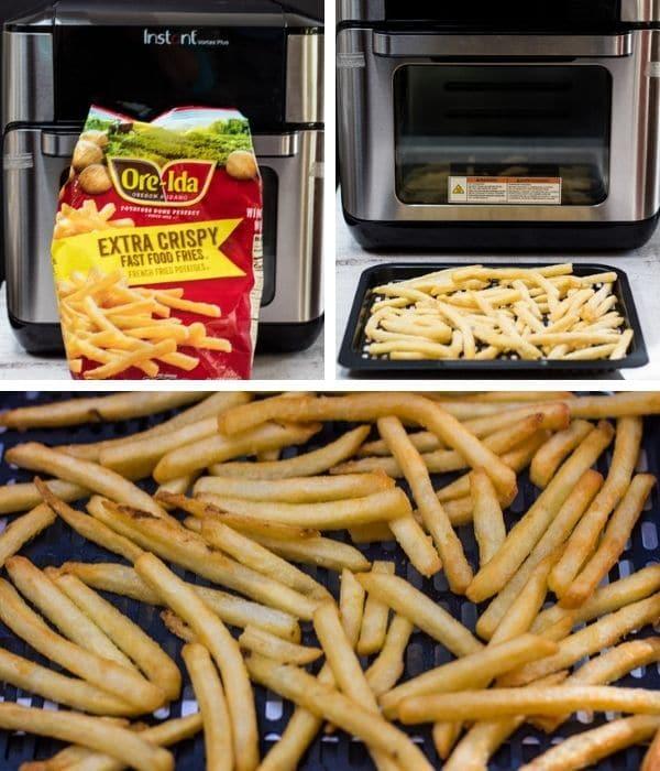collage di patatine fritte congelate con friggitrice ad aria confezionato pronto per friggere e servire.