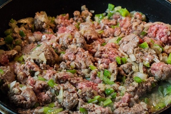 brown the ground beef meat with the sauteed bell pepper and onion.