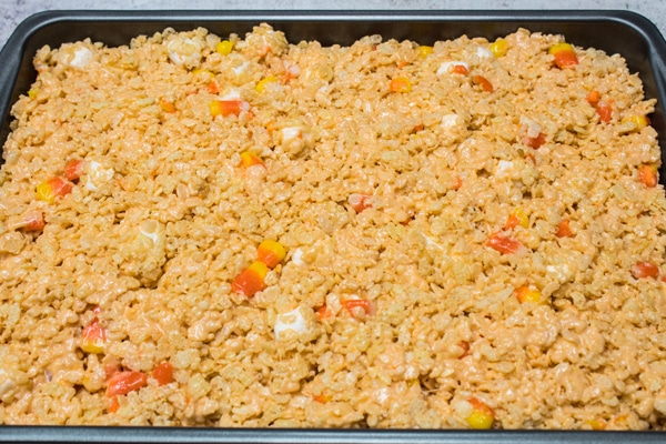 candy corn rice krispie treats setting in 9 x 13 pan.