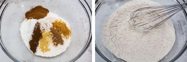 tørre ingredienser kombineres i en stor skål.