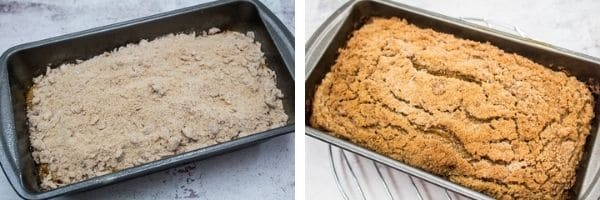 pumpkin bread batter in the loaf pan with streusel topping before and after baking.