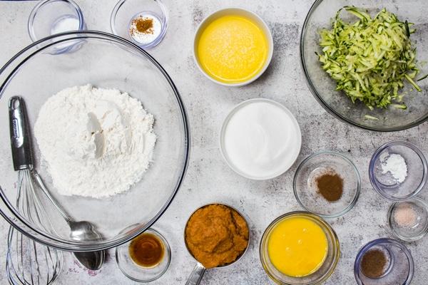 pumpkin zucchini muffins ingredients.