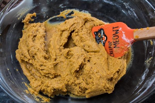 mokré a suché přísady kombinované s dýňovým těstem na sušenky.