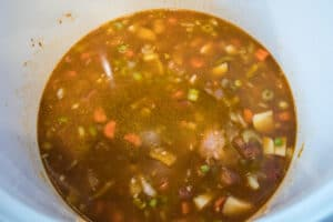 6 cups of chicken broth added to the start the sopa de chicharos.