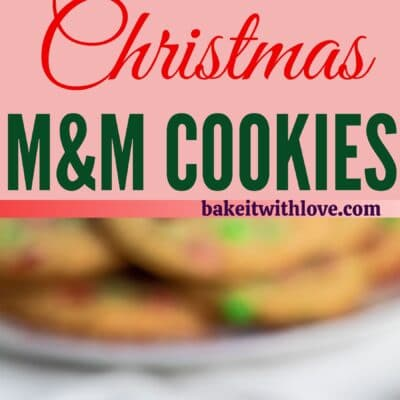 tall pin with two images of christmas m&m cookies with text divider.
